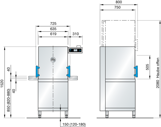 Dishwasher with hood M-iClean